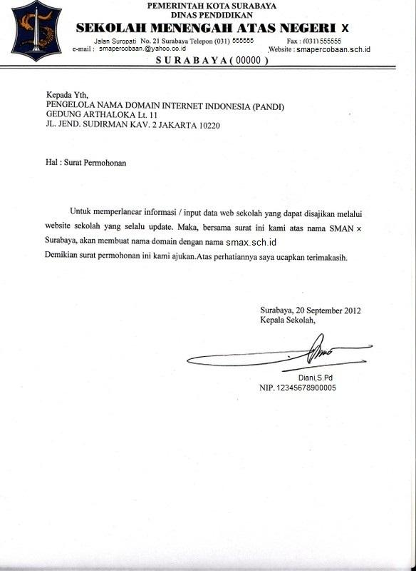 Surat Permohonan Domain SMAN 5 Sby