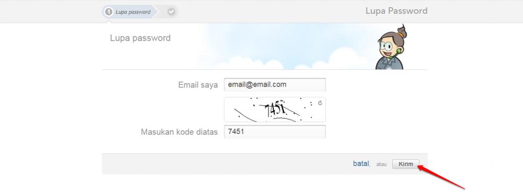 isi email dan klik simpan