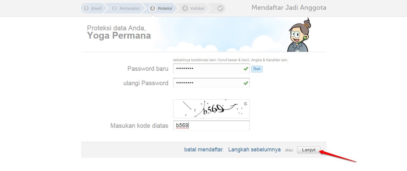 tentukan password login