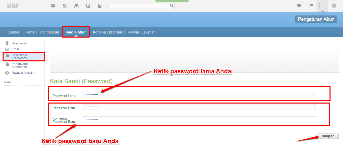 isi password baru