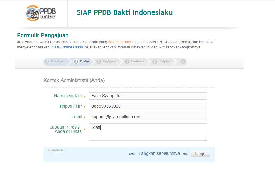 Bakti Indonesiaku SIAP PPDB Online - Form isian kontak