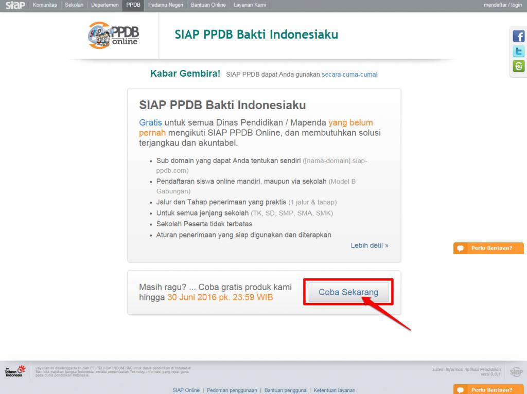 Bakti Indonesiaku SIAP PPDB Online - Halaman awal