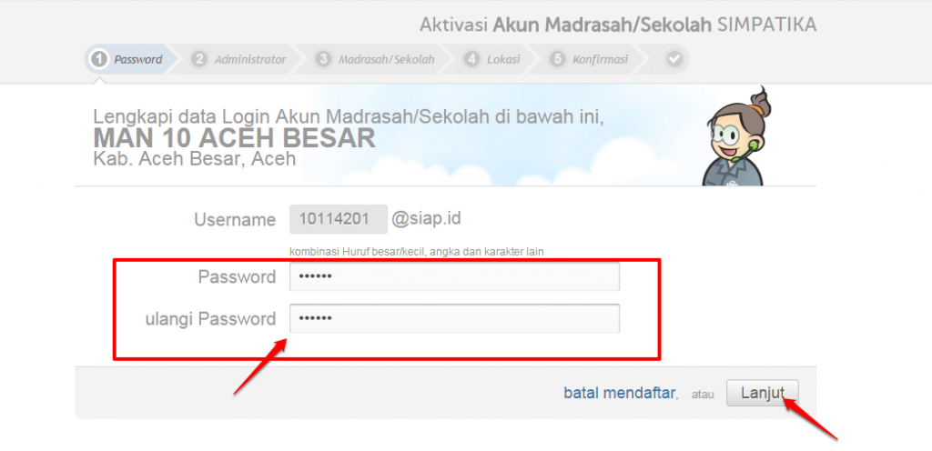 isi password login akun institusi