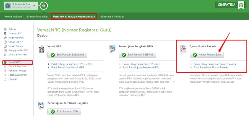 Terbaru Cara Penerbitan Nomor Peserta Baru Verval NRG Jika Nomor Peserta Tidak Terdeteksi